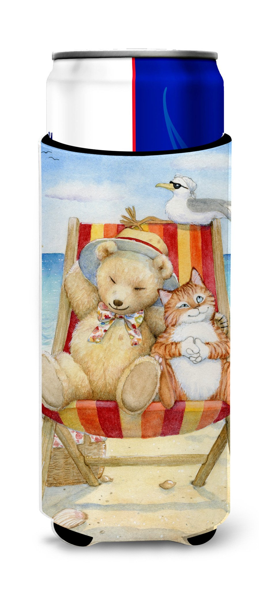 Summer Teddy Bear and Cat on Beach Ultra Beverage Insulators for slim cans CDCO0336MUK by Caroline's Treasures