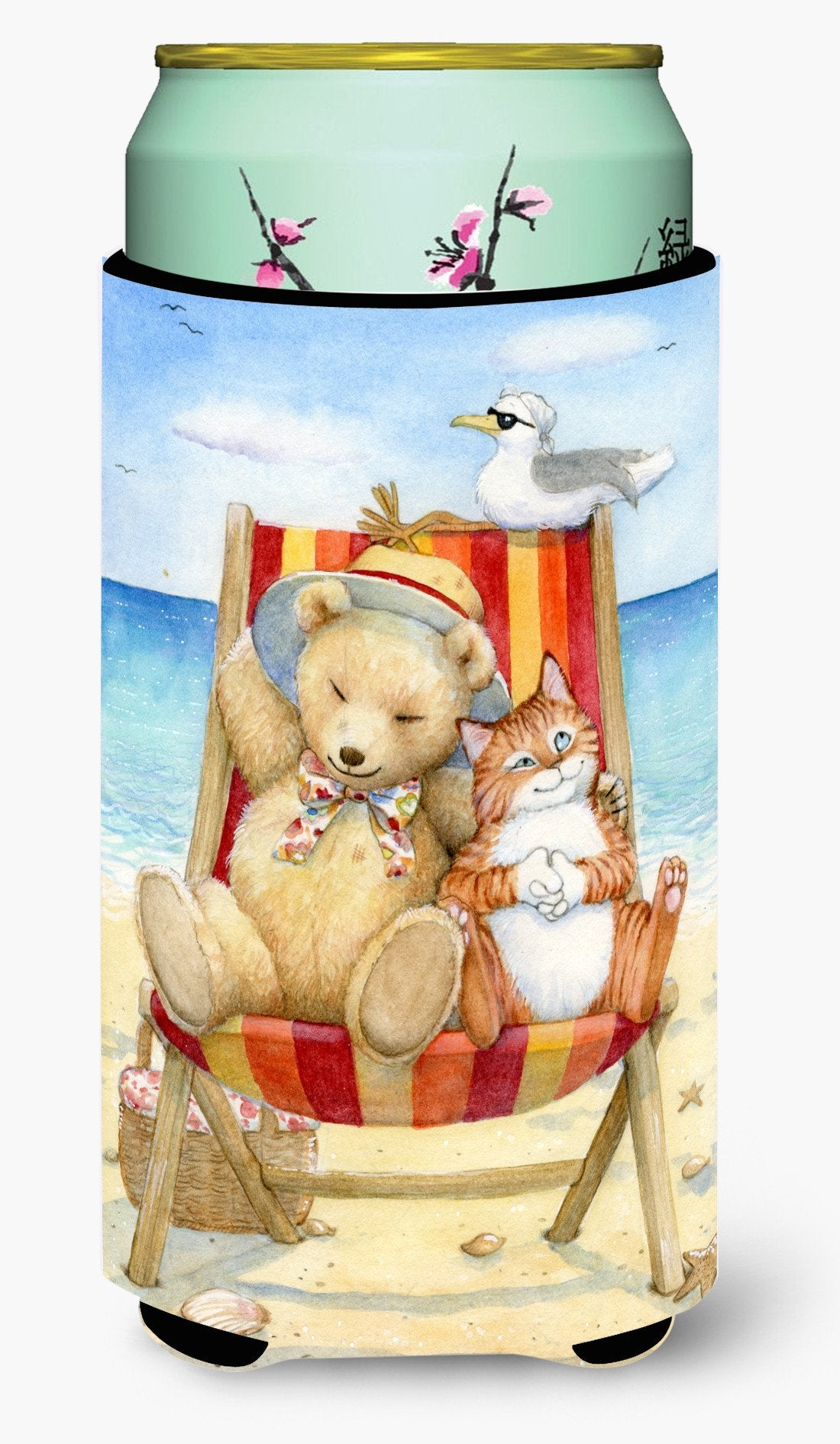Summer Teddy Bear and Cat on Beach Tall Boy Beverage Insulator Hugger CDCO0336TBC by Caroline's Treasures