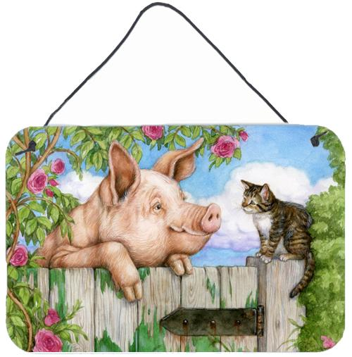 Pig at the Gate with the Cat Wall or Door Hanging Prints by Caroline's Treasures
