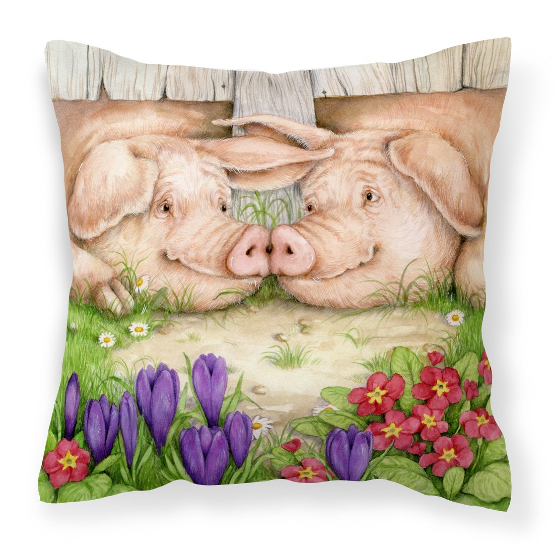 Pigs Nose To Nose by Debbie Cook Canvas Decorative Pillow by Caroline's Treasures