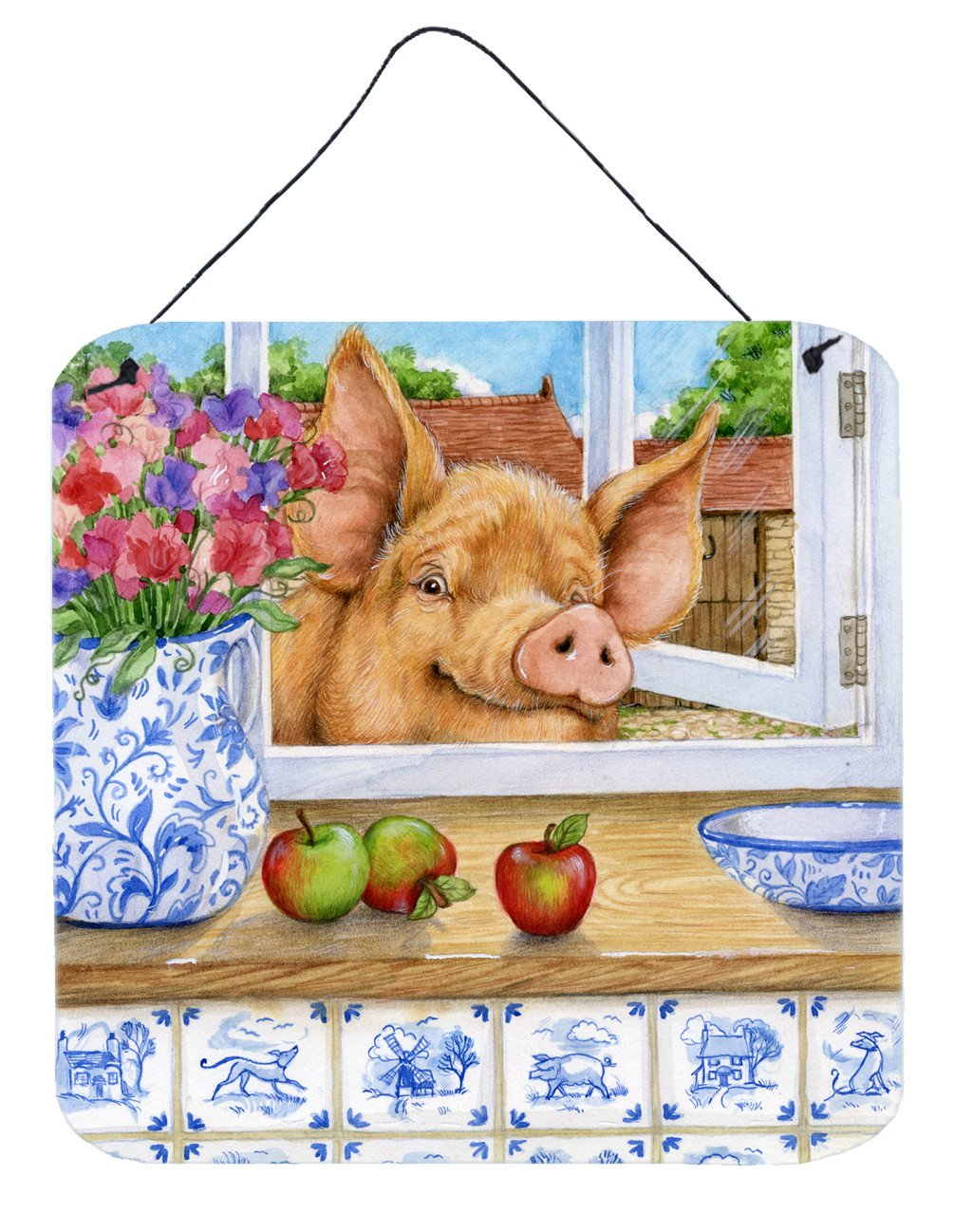 Pig trying to reach the Apple in the Window Wall or Door Hanging Prints CDCO0352DS66 by Caroline's Treasures
