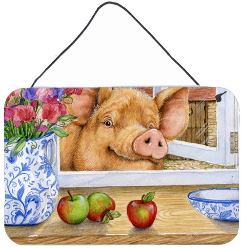 Pig trying to reach the Apple in the Window Wall or Door Hanging Prints by Caroline's Treasures