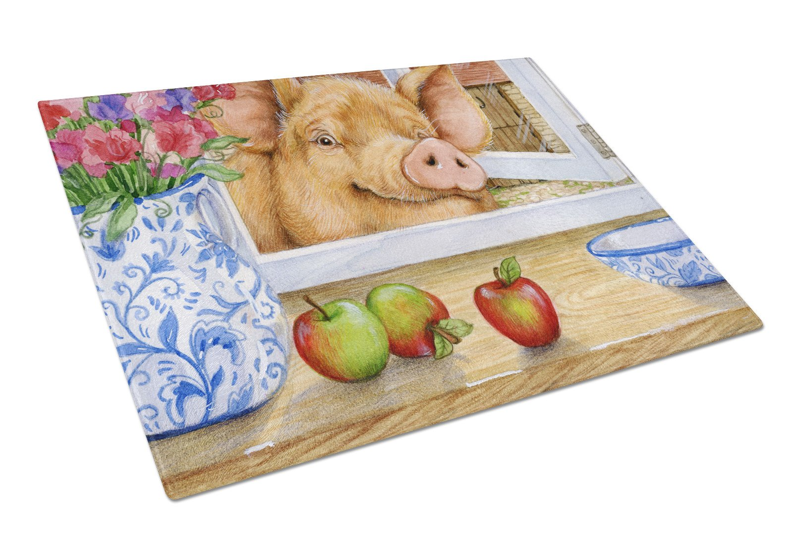 Pig trying to reach the Apple in the Window Glass Cutting Board Large CDCO0352LCB by Caroline's Treasures