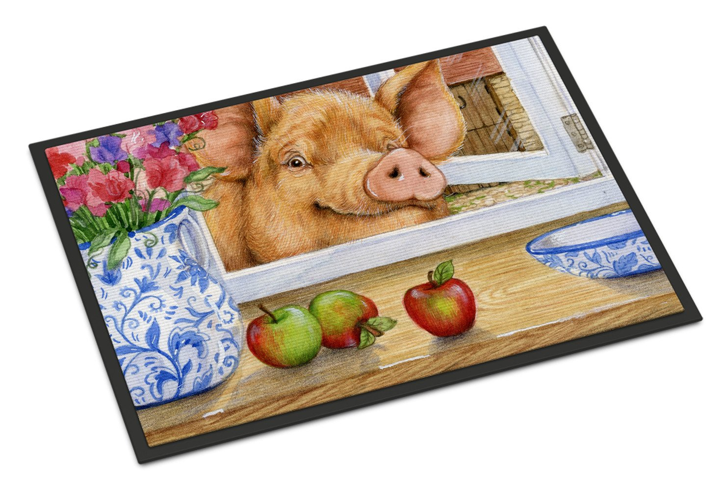 Pig trying to reach the Apple in the Window Indoor or Outdoor Mat 18x27 CDCO0352MAT - the-store.com