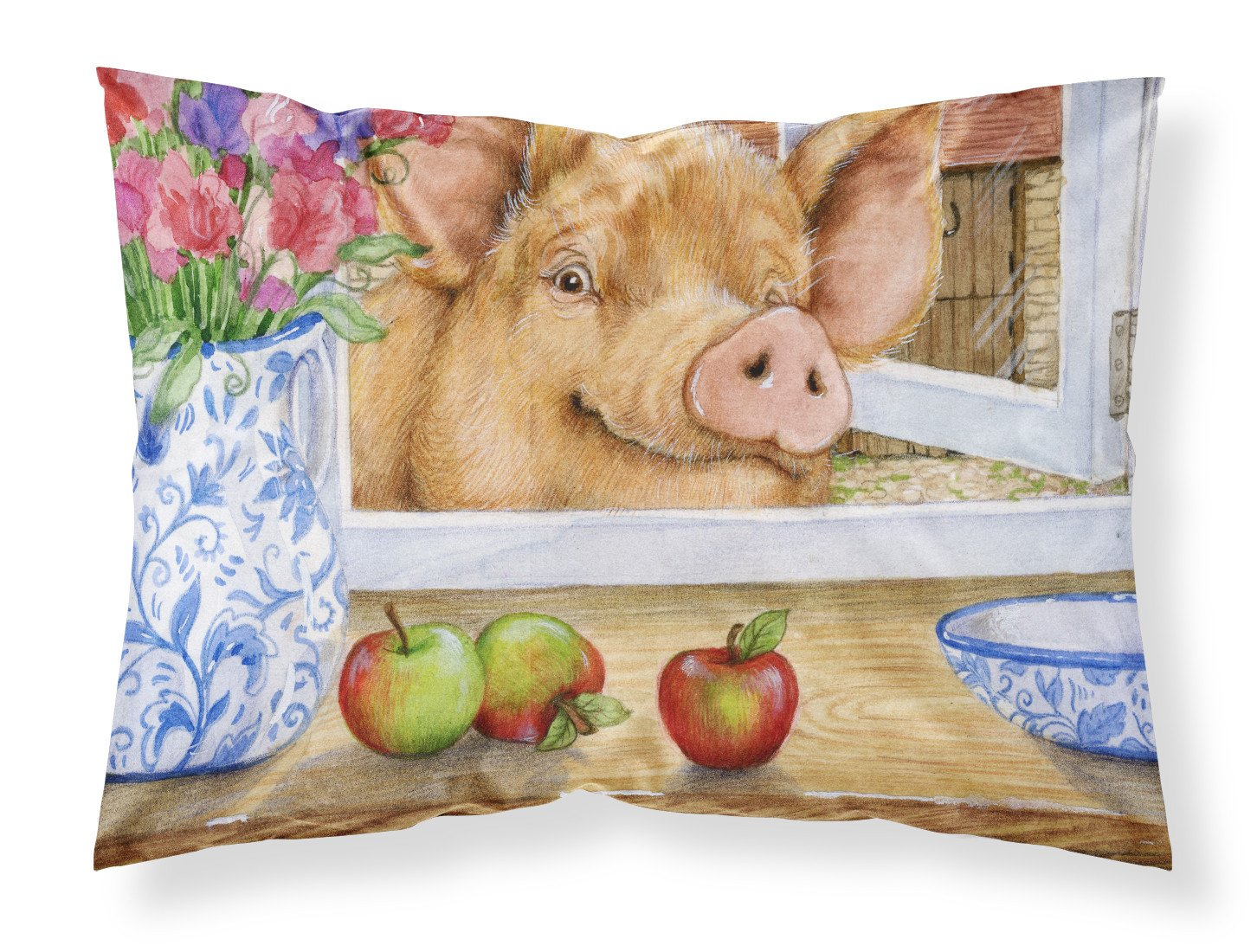 Pig trying to reach the Apple in the Window Fabric Standard Pillowcase CDCO0352PILLOWCASE by Caroline's Treasures
