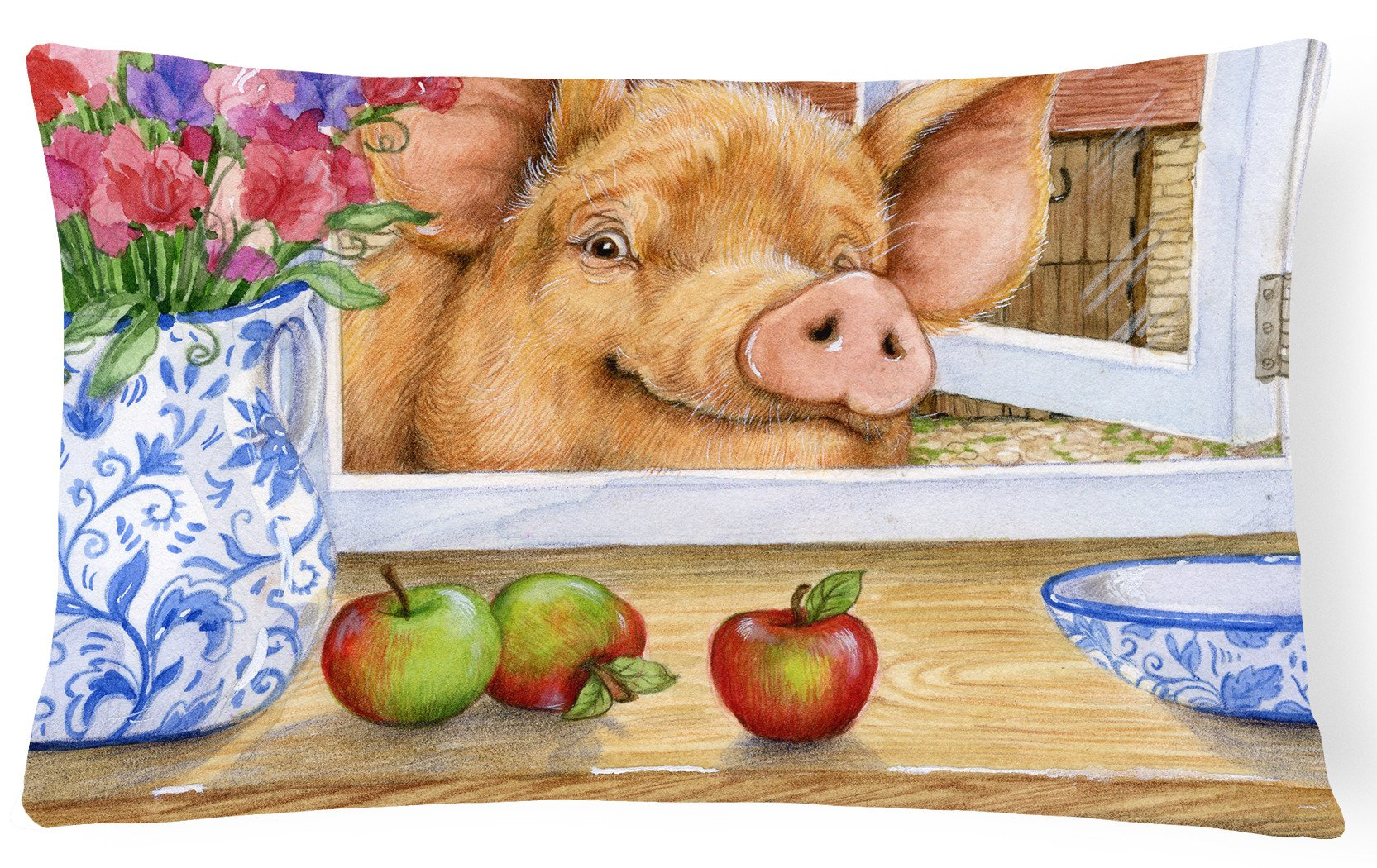 Pig trying to reach the Apple in the Window Fabric Decorative Pillow CDCO0352PW1216 by Caroline's Treasures