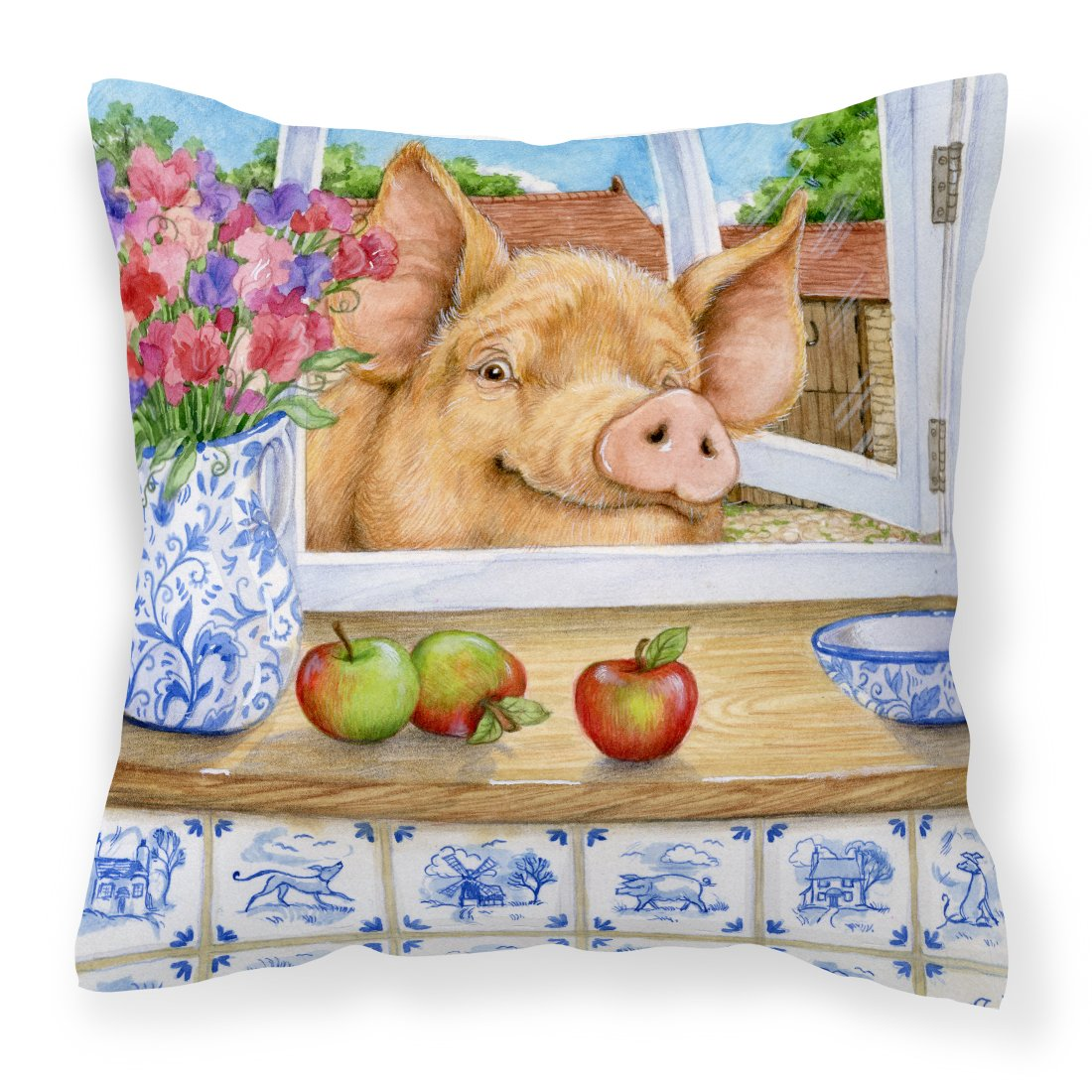 Pig trying to reach the Apple in the Window Canvas Decorative Pillow by Caroline's Treasures