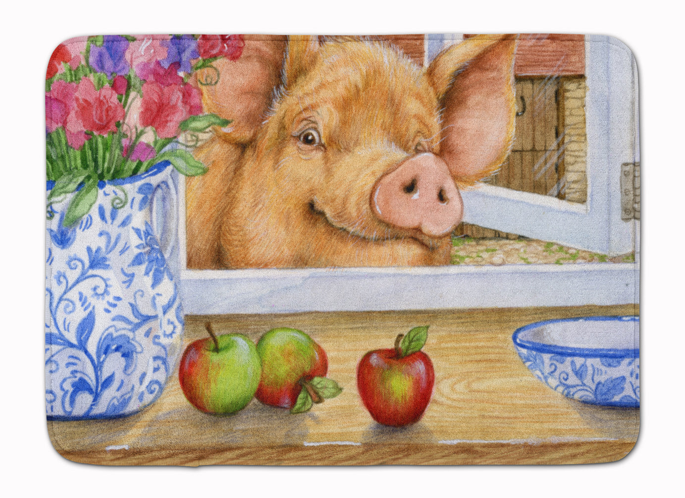Pig trying to reach the Apple in the Window Machine Washable Memory Foam Mat CDCO0352RUG by Caroline's Treasures