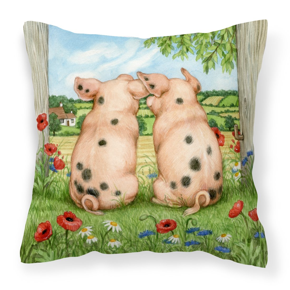 Pigs Side By Side by Debbie Cook Canvas Decorative Pillow by Caroline's Treasures
