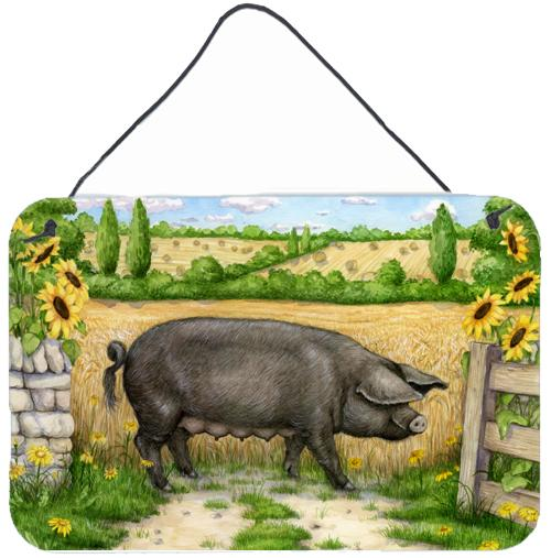 Black Pig with Sunflowers Wall or Door Hanging Prints by Caroline's Treasures