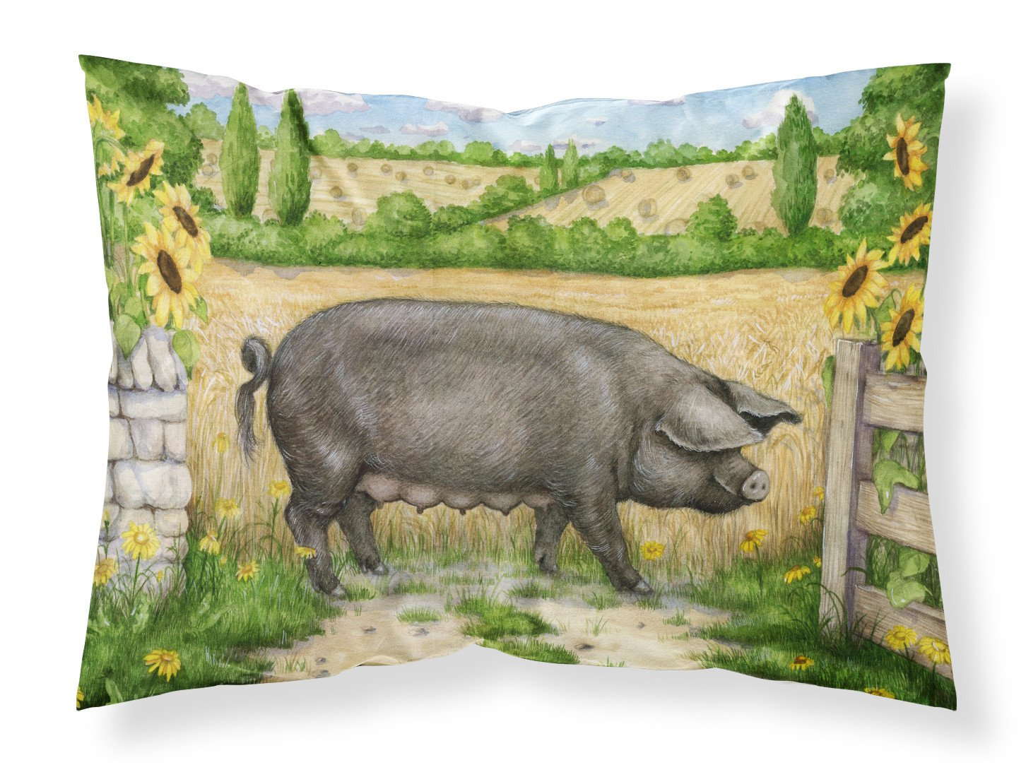 Buy this Black Pig with Sunflowers Fabric Standard Pillowcase CDCO0373PILLOWCASE