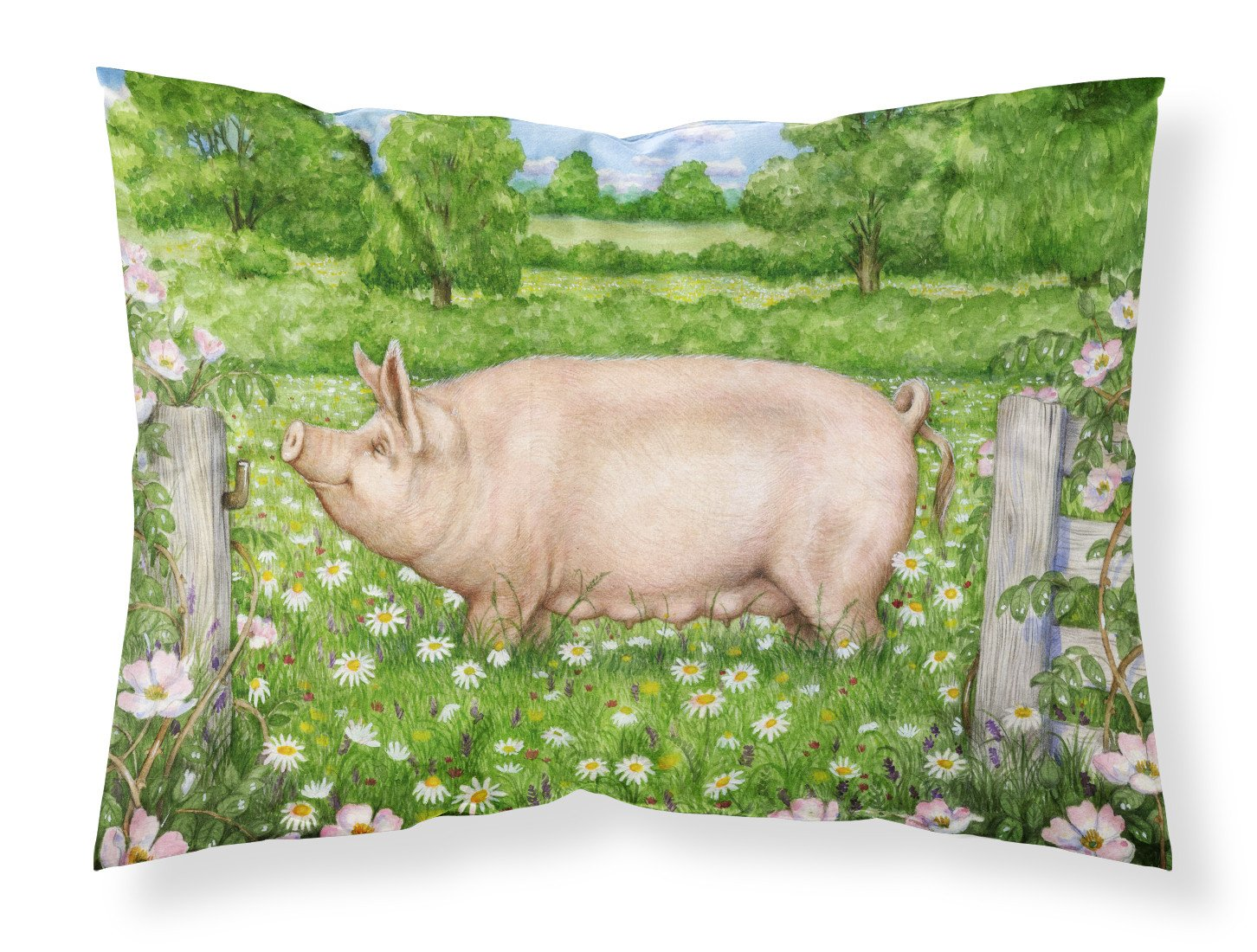 Pig In Dasies by Debbie Cook Fabric Standard Pillowcase CDCO0374PILLOWCASE by Caroline's Treasures