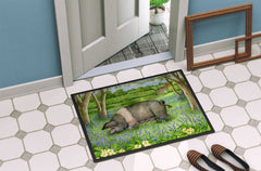 Pig In Bluebells by Debbie Cook Indoor or Outdoor Mat 24x36 CDCO0377JMAT
