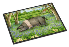 Buy this Pig In Bluebells by Debbie Cook Indoor or Outdoor Mat 24x36 CDCO0377JMAT