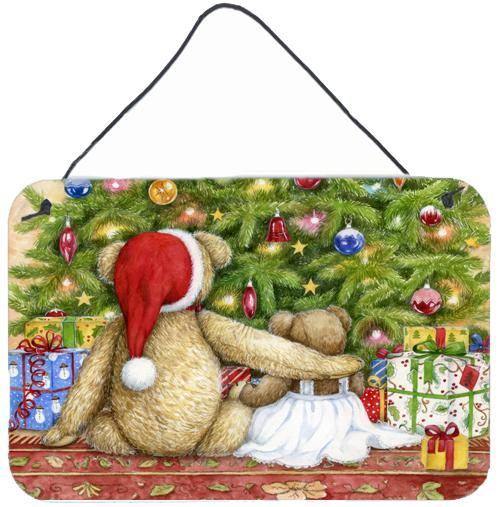 Christmas Teddy Bears with Tree Wall or Door Hanging Prints CDCO0415DS812 by Caroline's Treasures