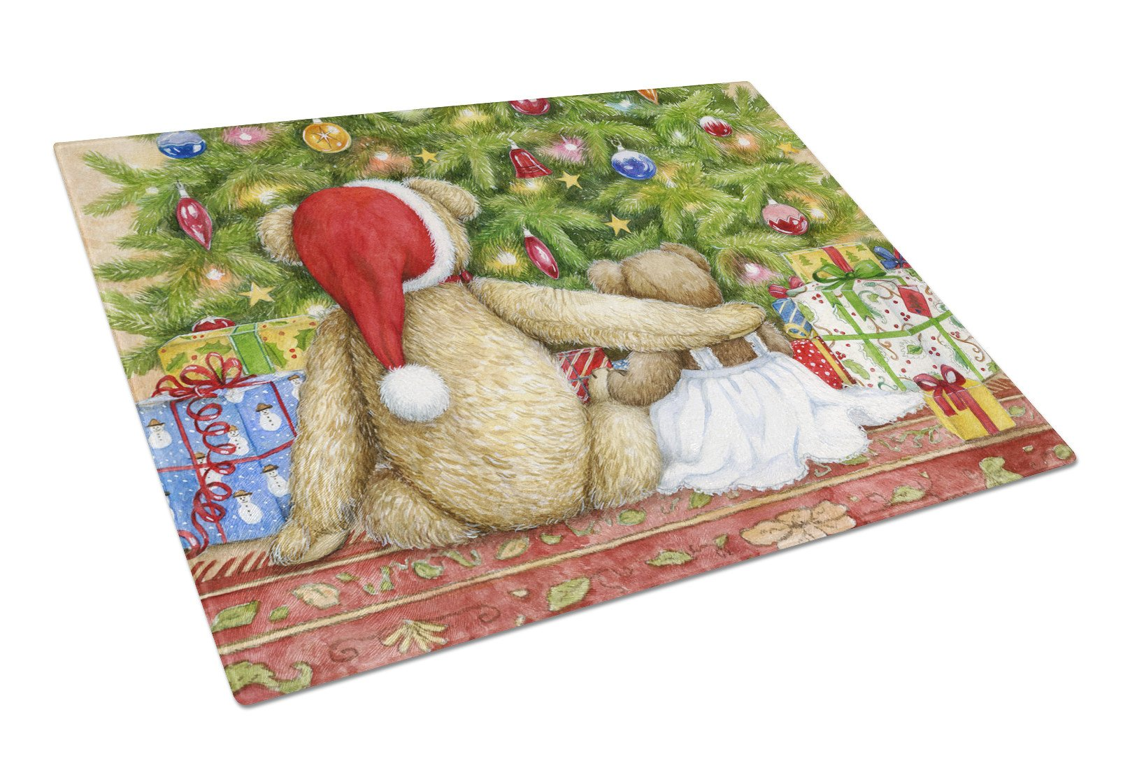 Christmas Teddy Bears with Tree Glass Cutting Board Large CDCO0415LCB by Caroline's Treasures