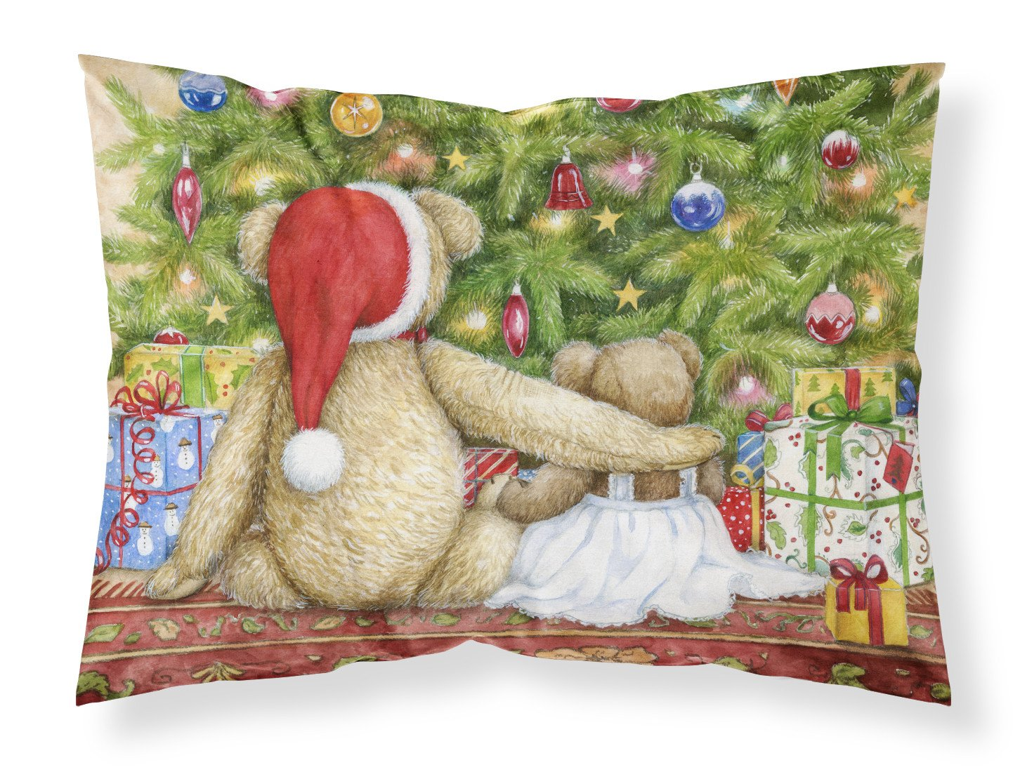 Christmas Teddy Bears with Tree Fabric Standard Pillowcase CDCO0415PILLOWCASE by Caroline's Treasures