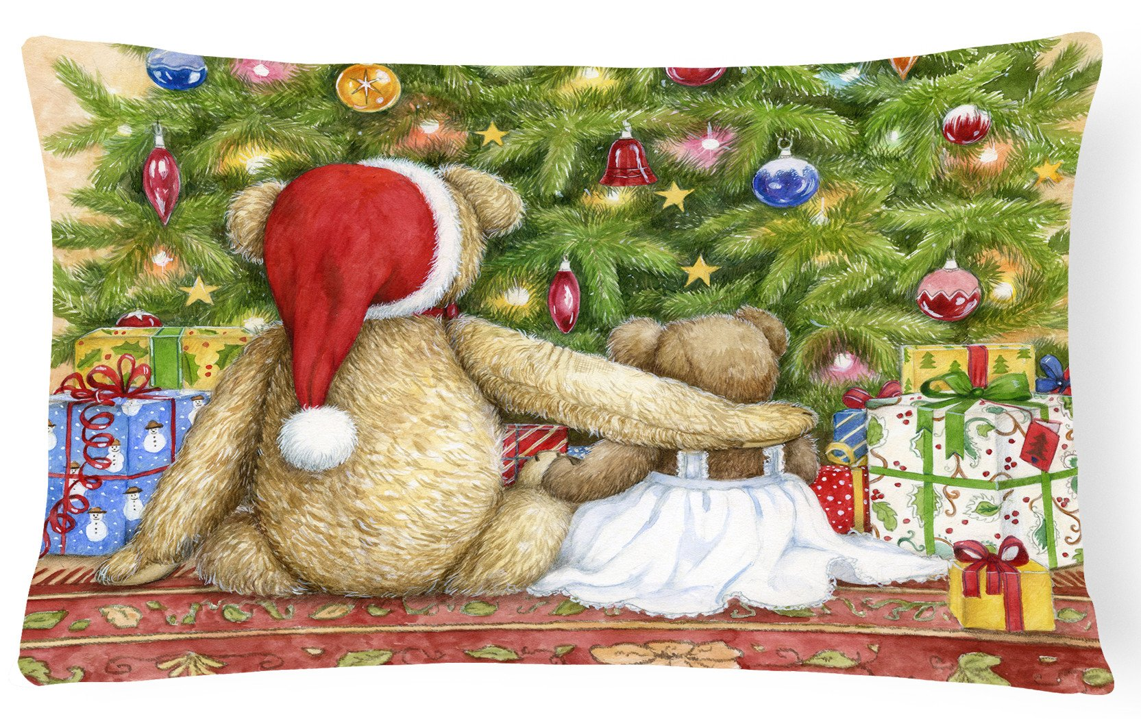 Christmas Teddy Bears with Tree Fabric Decorative Pillow CDCO0415PW1216 by Caroline's Treasures