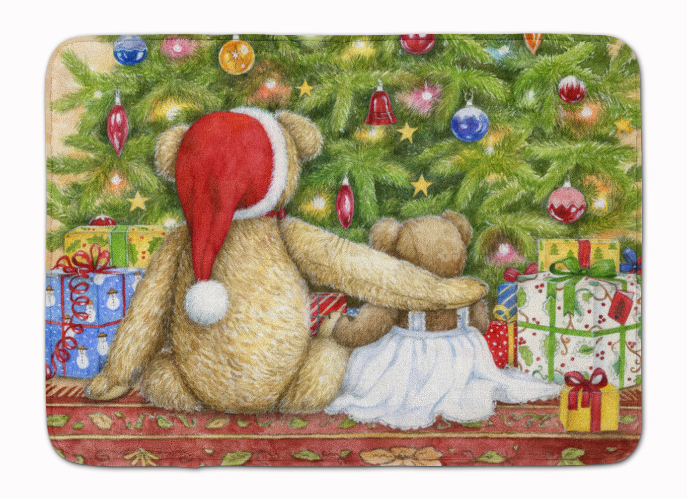 Christmas Teddy Bears with Tree Machine Washable Memory Foam Mat CDCO0415RUG by Caroline's Treasures