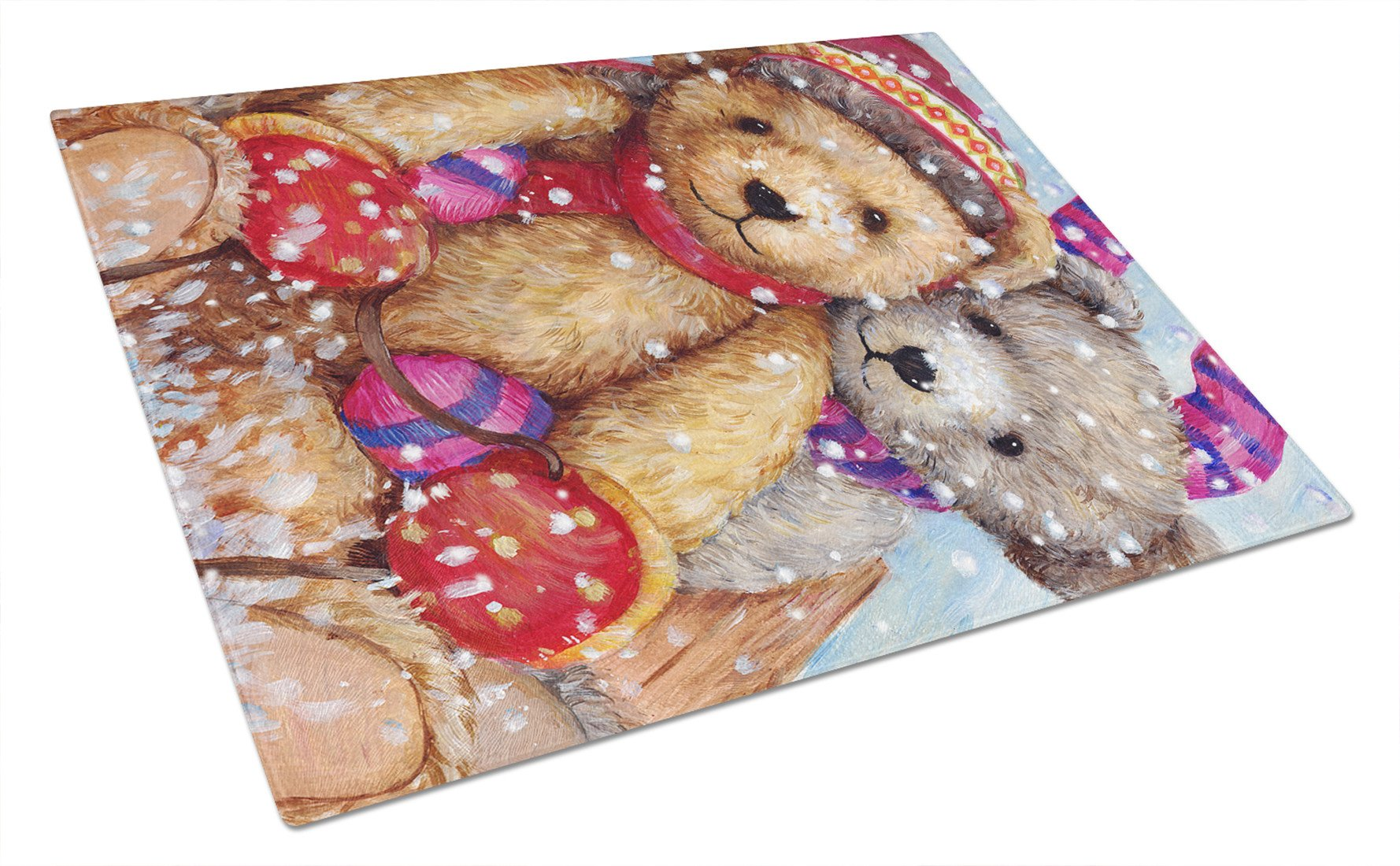 Winter Snow Teddy Bears Glass Cutting Board Large CDCO0461LCB by Caroline's Treasures