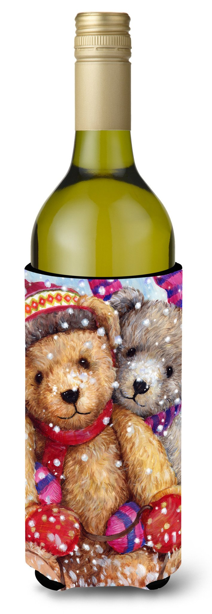 Winter Snow Teddy Bears Wine Bottle Beverage Insulator Hugger CDCO0461LITERK by Caroline's Treasures