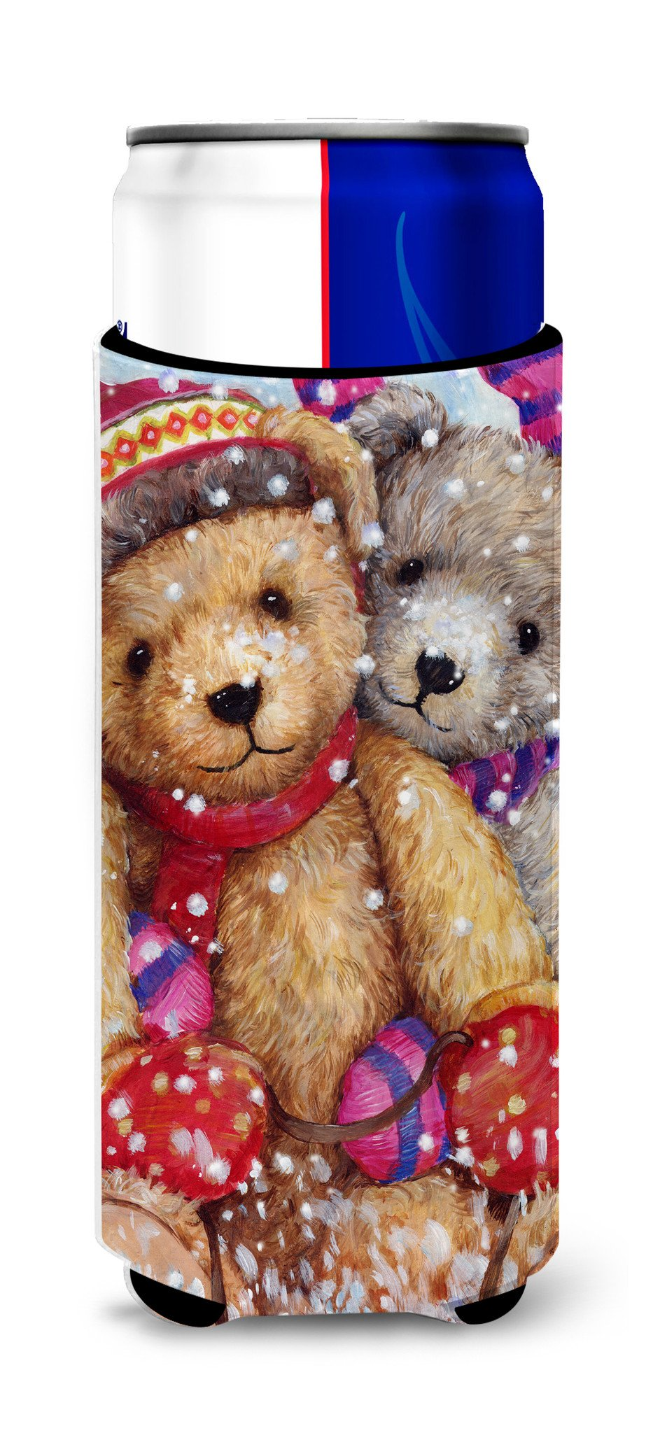 Winter Snow Teddy Bears Ultra Beverage Insulators for slim cans CDCO0461MUK by Caroline's Treasures