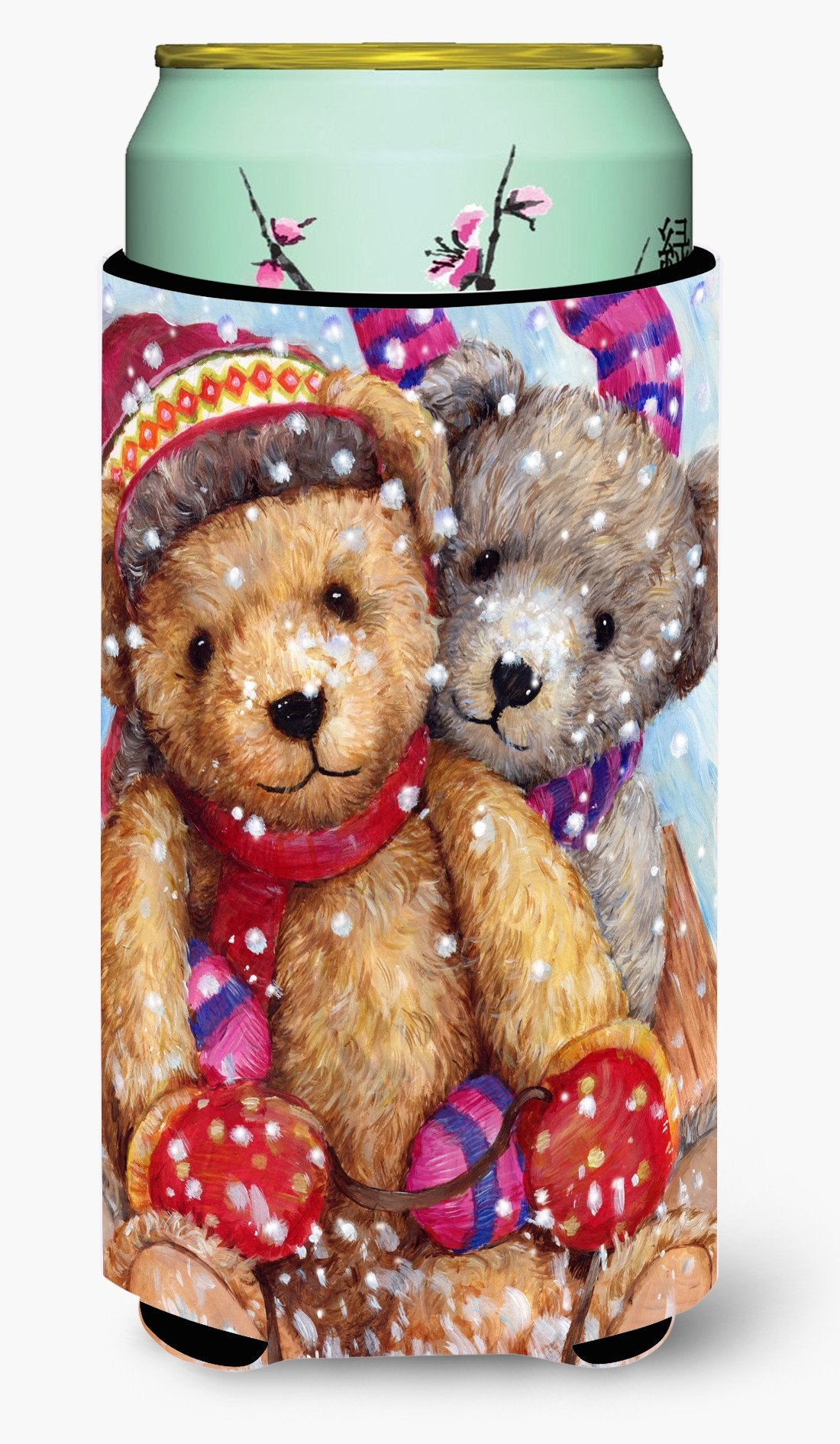 Winter Snow Teddy Bears Tall Boy Beverage Insulator Hugger CDCO0461TBC by Caroline's Treasures