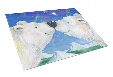 Buy this Polar Bears Polar Kiss by Debbie Cook Glass Cutting Board Large CDCO0487LCB