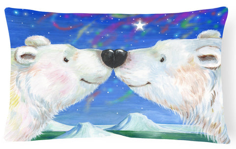 Buy this Polar Bears Polar Kiss by Debbie Cook Fabric Decorative Pillow CDCO0487PW1216