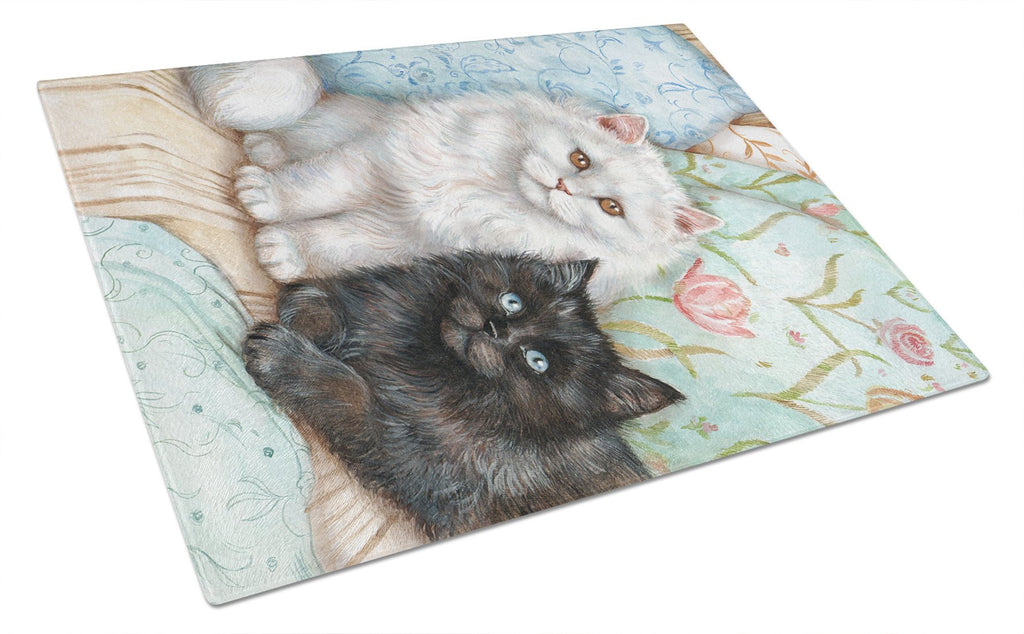 Buy this A Black Cat and A White Cat Glass Cutting Board Large CDCO0510LCB