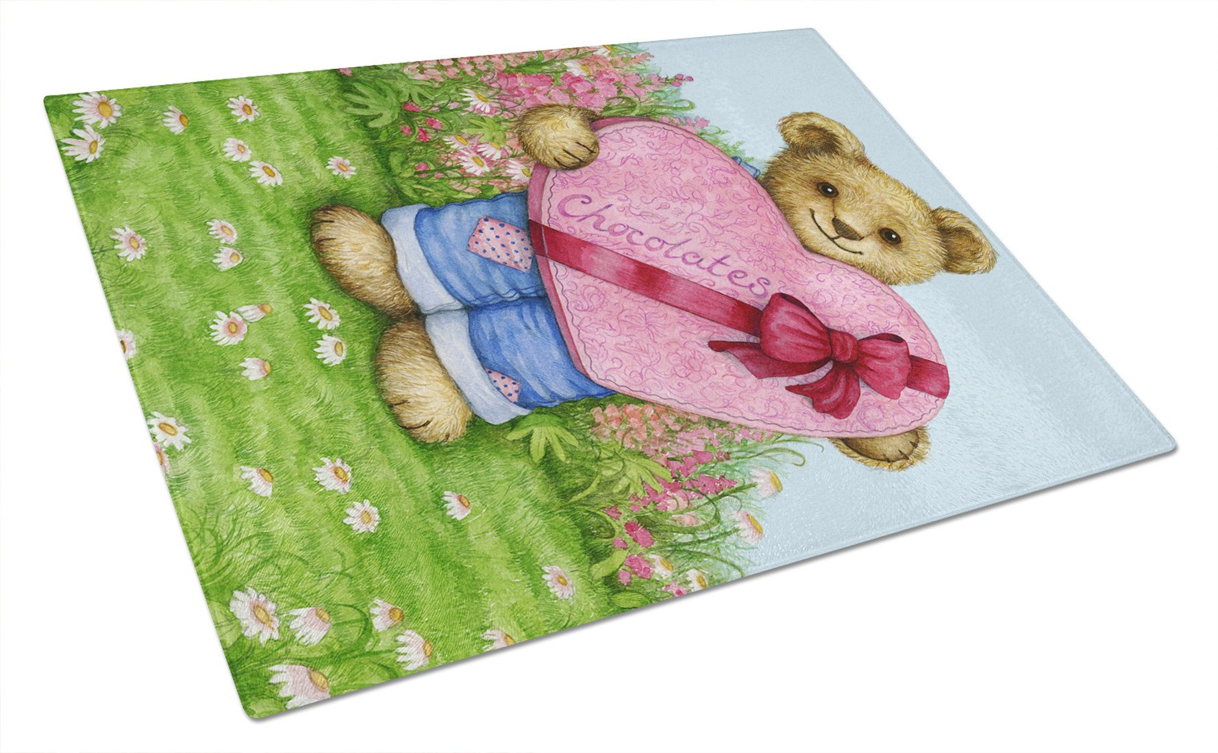 Valentine Teddy Bear with Chocolates Glass Cutting Board Large CDCO318ALCB by Caroline's Treasures