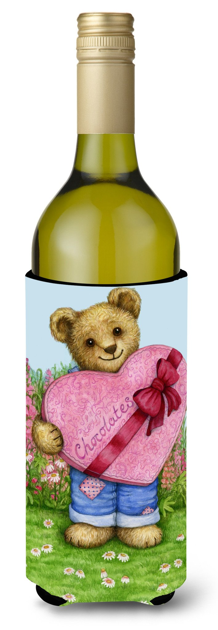 Valentine Teddy Bear with Chocolates Wine Bottle Beverage Insulator Hugger CDCO318ALITERK by Caroline's Treasures