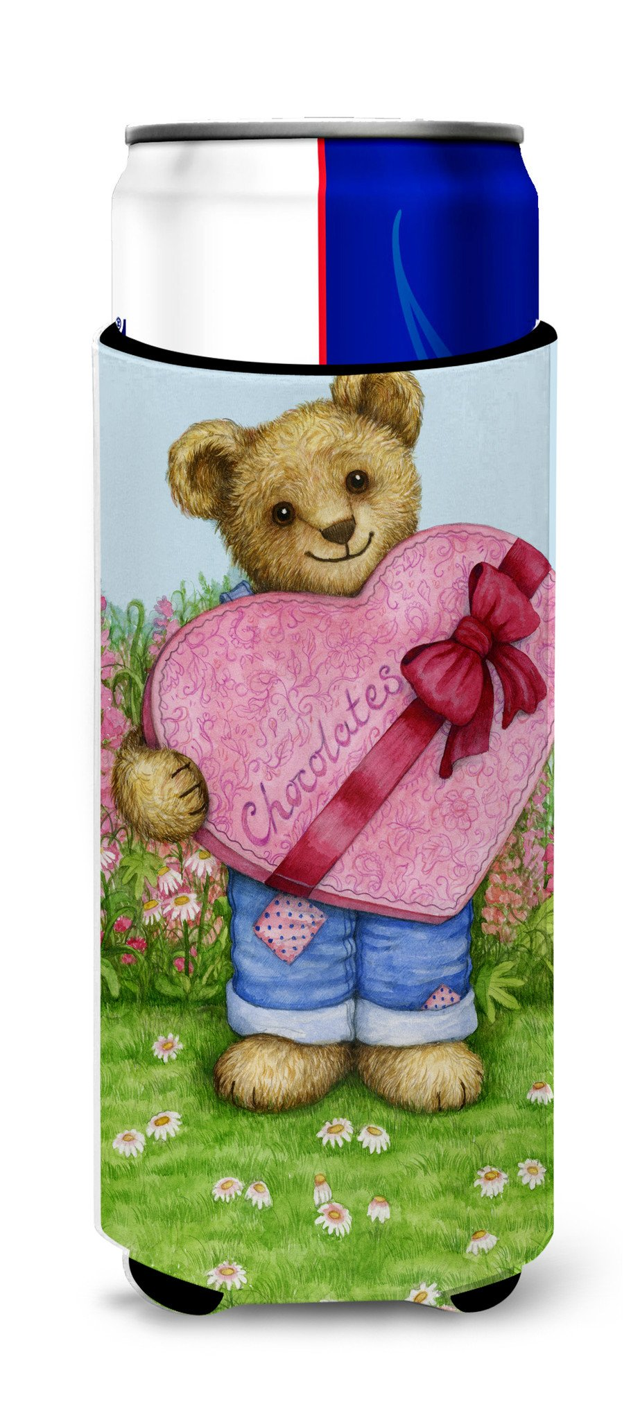 Valentine Teddy Bear with Chocolates Ultra Beverage Insulators for slim cans CDCO318AMUK by Caroline's Treasures