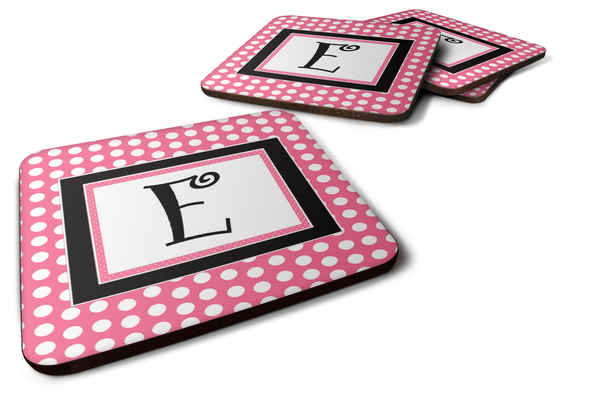 Set of 4 Monogram - Pink Black Polka Dots Foam Coasters Initial Letter E by Caroline's Treasures