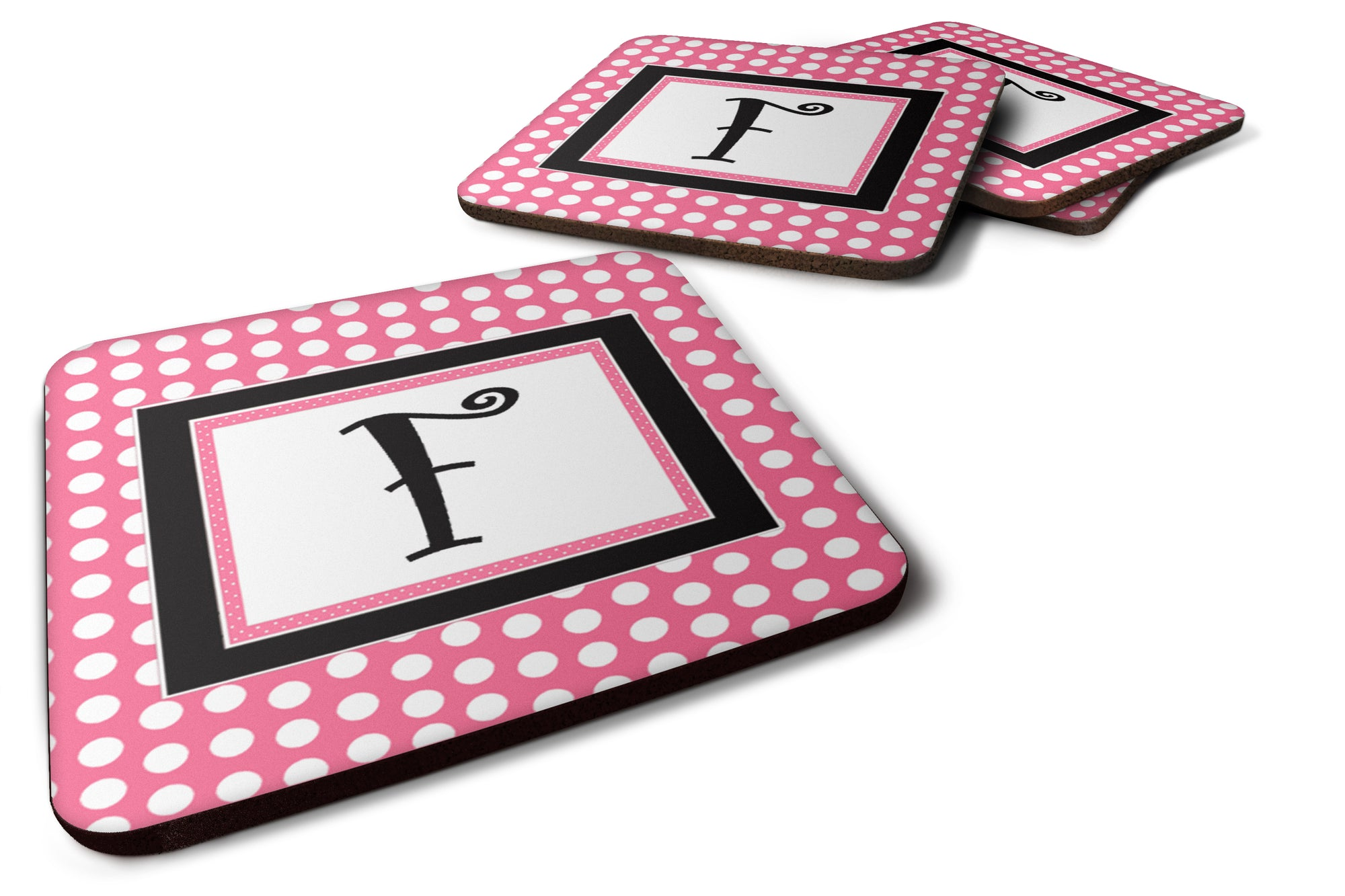 Set of 4 Monogram - Pink Black Polka Dots Foam Coasters Initial Letter F by Caroline's Treasures