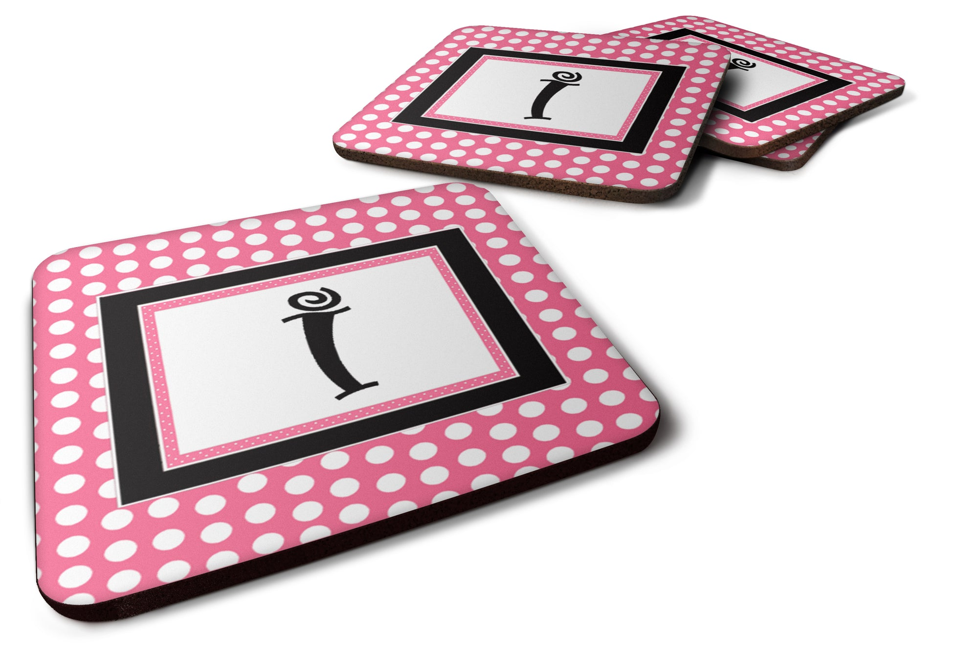 Set of 4 Monogram - Pink Black Polka Dots Foam Coasters Initial Letter I by Caroline's Treasures