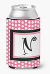Buy this Letter N Initial Monogram - Pink Black Polka Dots Can or Bottle Beverage Insulator Hugger