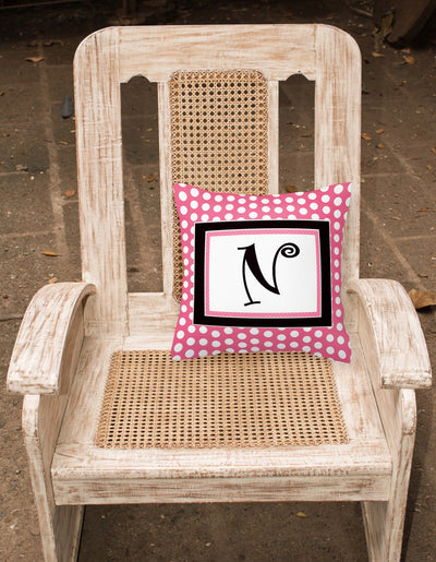 Letter N Initial Monogram Pink Black Polka Dots Decorative Canvas Fabric Pillow