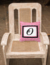 Letter O Initial Monogram Pink Black Polka Dots Decorative Canvas Fabric Pillow - the-store.com