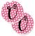 Letter U Monogram - Pink Black Polka Dots Set of 2 Cup Holder Car Coasters CJ1001-UCARC by Caroline's Treasures