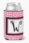 Letter W Initial Monogram - Pink Black Polka Dots Can or Bottle Beverage Insulator Hugger by Caroline's Treasures