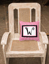 Letter W Initial Monogram Pink Black Polka Dots Decorative Canvas Fabric Pillow - the-store.com