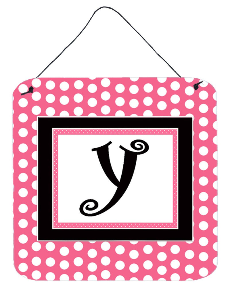 Letter Y Initial  - Pink Black Polka Dots Wall or Door Hanging Prints by Caroline's Treasures