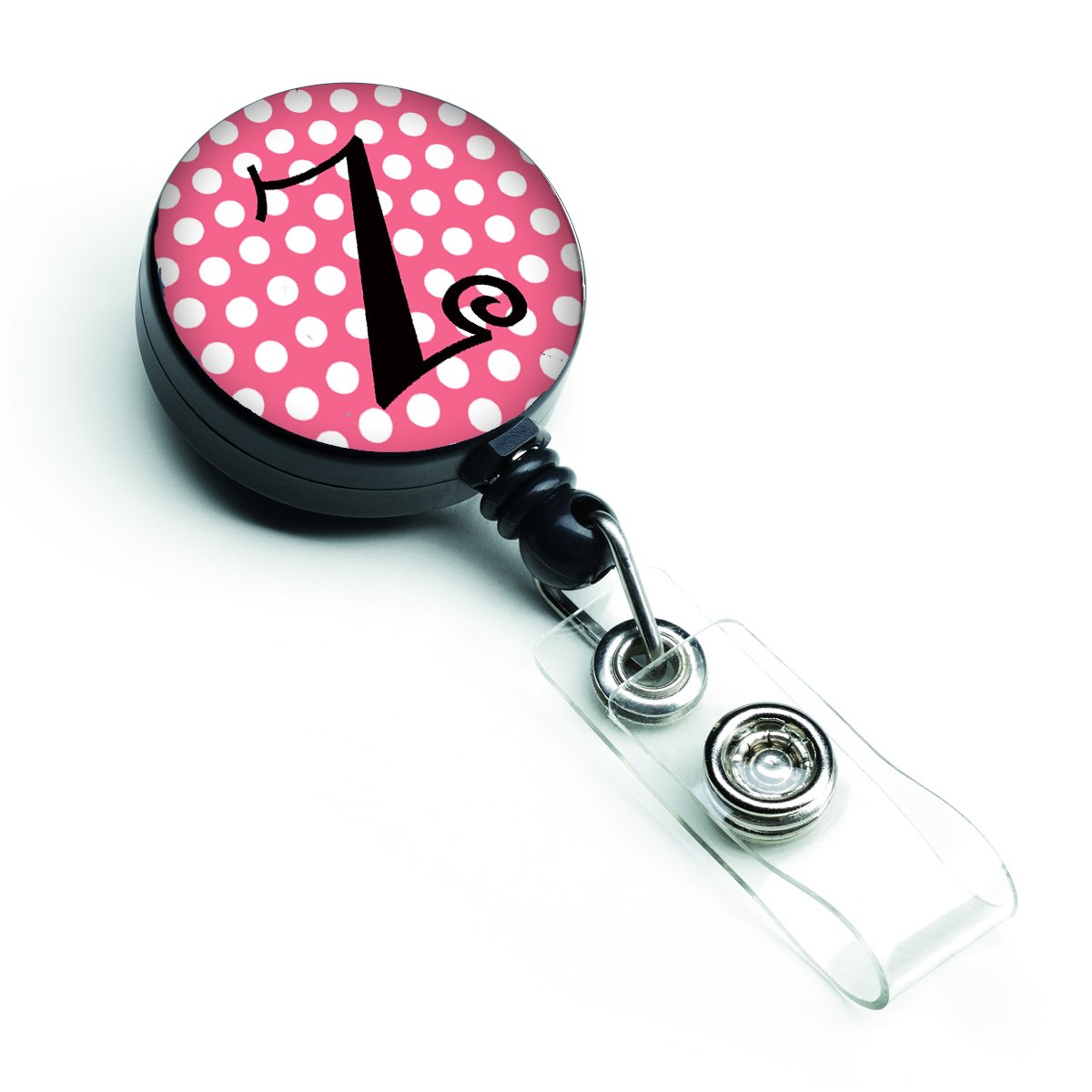 Letter Z Monogram - Pink Black Polka Dots Retractable Badge Reel CJ1001-ZBR by Caroline's Treasures