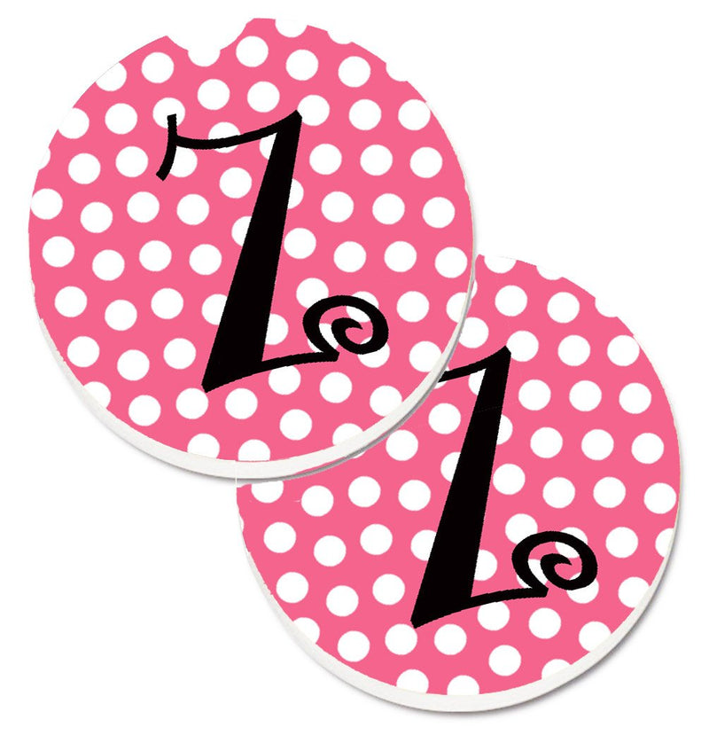 Buy this Letter Z Monogram - Pink Black Polka Dots Set of 2 Cup Holder Car Coasters CJ1001-ZCARC