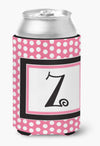 Buy this Letter Z Initial Monogram - Pink Black Polka Dots Can or Bottle Beverage Insulator Hugger