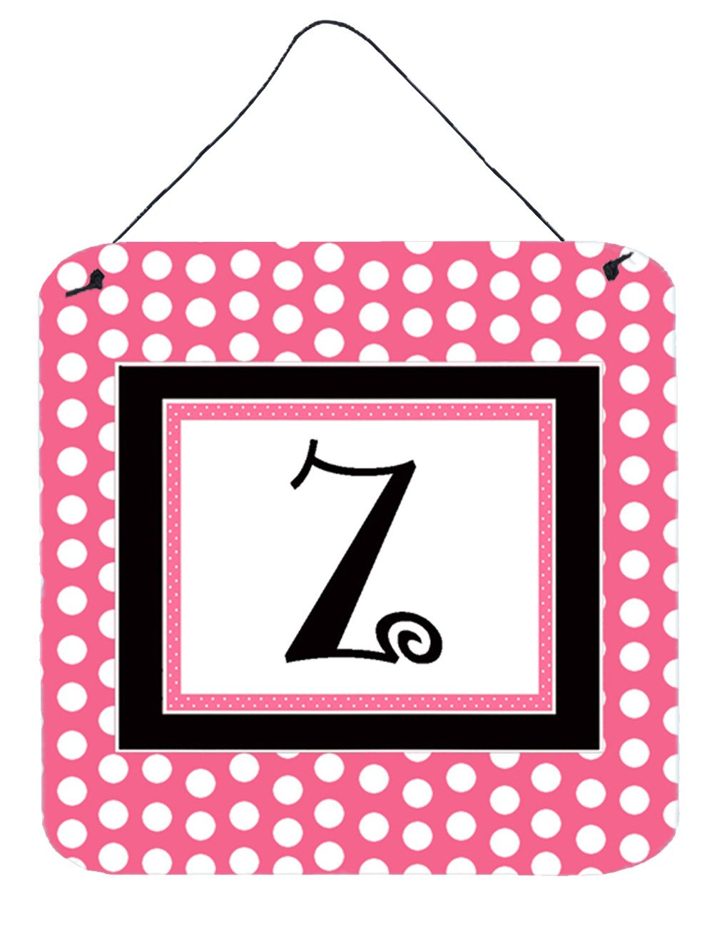 Buy this Letter Z Initial  - Pink Black Polka Dots Wall or Door Hanging Prints