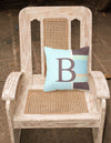 Letter B Initial Monogram - Blue Stripes Decorative   Canvas Fabric Pillow - the-store.com