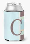 Letter C Initial Monogram - Blue Stripes Can or Bottle Beverage Insulator Hugger by Caroline's Treasures