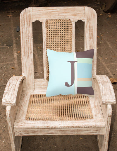 Letter J Initial Monogram - Blue Stripes Decorative   Canvas Fabric Pillow